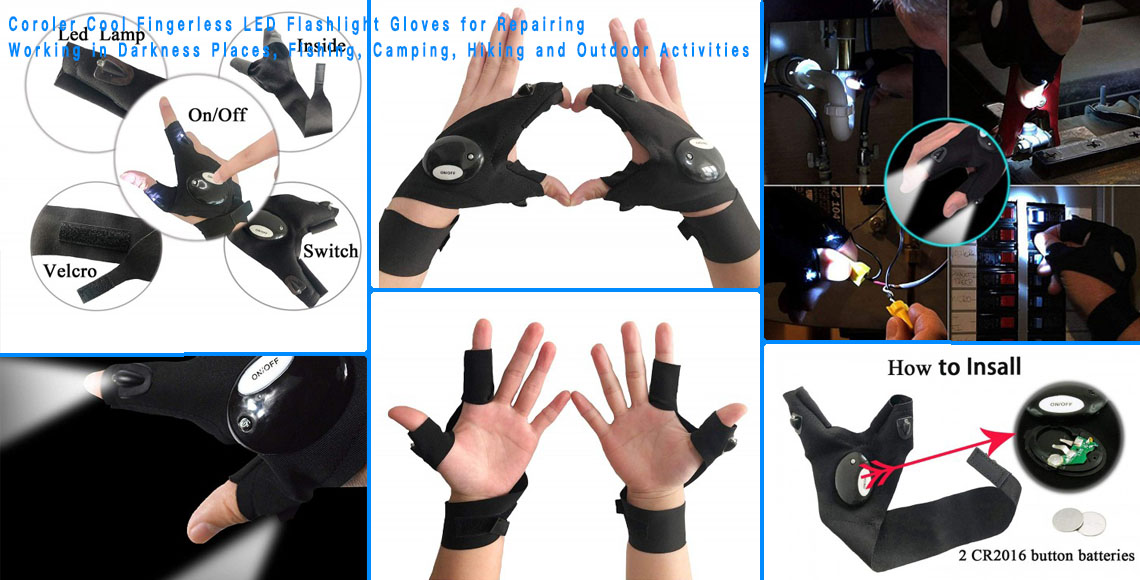 Fingerless LED Flashlight Gloves