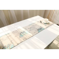 Coroler 1Pc Classical European Style Pattern Table Runner Cotton Linen Fabric Table Top Decoration