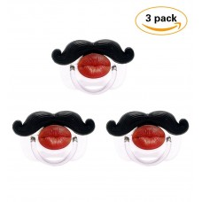 Coroler 3Pcs Mustache Pacifier for Baby,Cute Kissable Mustache Lip Pacifier, Newborn Infant Pacifier Gift BPA Free Latex Free made With Silicone(A)