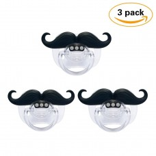 Coroler 3Pcs Mustache Pacifier for Baby, Funny Gentleman Mustache Lip Pacifier, Newborn Infant Pacifier Gift BPA Free Latex Free made With Silicone (C)