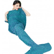 Coroler Adults Adorable Mermaid Tail Blanket Snuggle Sleeping Bags with Scale Patterns All Seasons,Deep Blue