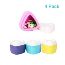 Coroler 4 Pack Portable Travel Silicone Cosmetic Containers Kit Cream Jar Pill Case with Sealed Lids(30ml) ,Great for Travel, Home and Outdoor (Four Colors)