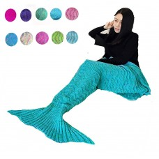 Coroler Adorable Mermaid Tail Blanket Snuggle Sleeping Bags with Wave Pattern for Adults,Sky Blue