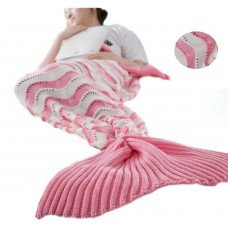 Coroler Adorable Mermaid Tail Blanket Snuggle Sleeping Bags with Wave Pattern for Adults,Pink