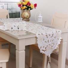 Coroler Embroidered Cute Out Table Linens European Style Polyester Table Runner with Tassels