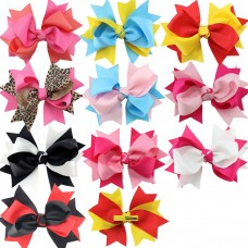 Coroler 10Pcs Baby Girl Hair Bows Lovely Grosgrain Ribbon Hair Accessorie With Clip Hairpins Birthday Gift for Kids