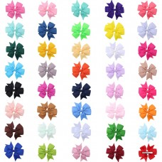 Coroler 40Pcs Baby Girl Hair Bows Lovely Grosgrain Ribbon Hair Accessorie With Clip Hairpins Birthday Gift for Kids