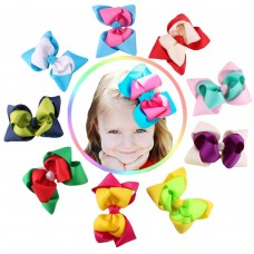 Coroler 9Pcs Supper Lovely Baby Girls Kids Hair Bows Double Color Headbands