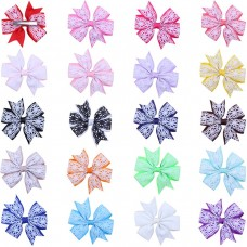 Coroler 20Pcs Baby Girl Hair Bows Printed Butterfly Hairpin with Grosgrain Ribbon Best Birthday Gift