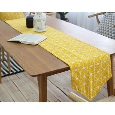 Coroler 1Pc Classical European Style Table Runner Cotton Linen Fabric Table Top Decoration with Checkerboard Pattern