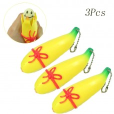 Coroler 3pcs Banana Squeeze Toy Pop Out Decompression Squeeze Fidget Toy Gift