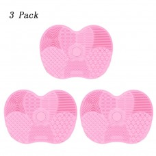 Coroler 3 Pack - Silicon Makeup Brush Cleaning Mat - Cosmetic Brush Cleaning Mat Portable Washing Tool Scrubber Suction Cup (Small (6.1x4.7inch), Pink)