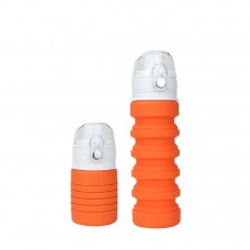 Coroler Collapsible Water Bottle Silicone Travel Bottle - BPA Free Folding Reusable Portable Drinking Bottles for Travel, Camping, Cycling and Hiking (Orange)
