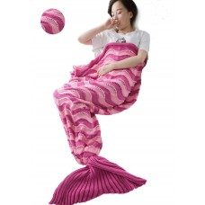 Coroler Adorable Mermaid Tail Blanket Snuggle Sleeping Bags with Wave Pattern for Adults,Rose Red