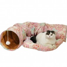 Coroler Collapsible Cat Tunnel with Central Mat, Soft Cat Tube Sleeping Bed Toy for Cat Dog (Pink/Green)