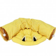 Coroler Collapsible Cat Tunnel with Central Mat, Soft Cat Tube Sleeping Bed Toy for Cat Dog (Yellow)