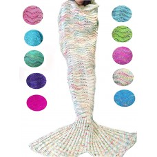 Coroler Christmas Cute Mermaid Tail Blanket Living Room Sleeping Bag for Adults with Wave Patterns,Apply on All Seasons