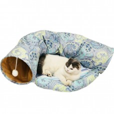 Coroler Collapsible Cat Tunnel with Central Mat, Soft Cat Tube Sleeping Bed Toy for Cat Dog (Blue)