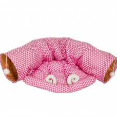 Coroler Collapsible Cat Tunnel with Central Mat, Soft Cat Tube Sleeping Bed Toy for Cat Dog (Pink)