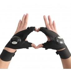 Coroler Cool Fingerless LED Flashlight Gloves for Repairing,Working in Darkness Places, Fishing, Camping, Hiking and Outdoor Activities (One Pair)