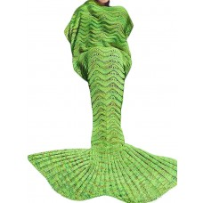 Coroler Adorable Mermaid Tail Blanket Snuggle Sleeping Bags with Wave Pattern for Adults,Bright Green
